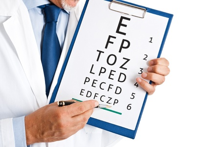 farsighted: Doctor doing an optical test