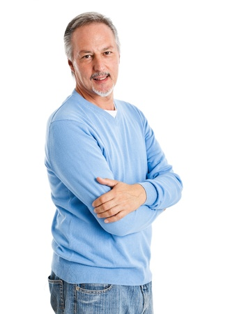 Portrait of an handsome mature man isolated on white Stock Photo - 14330073