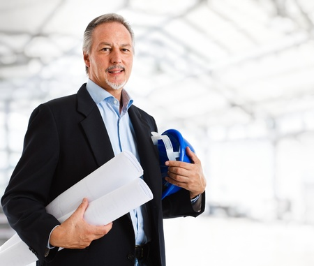 service engineer: Portrait of an handsome mature engineer Stock Photo