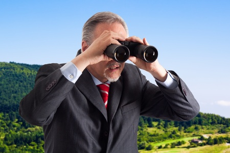 opportunity discovery: A manager searching for new opportunities using binoculars