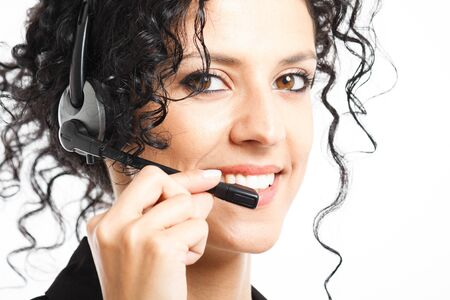 Portrait of a beautiful smiling customer representative Stock Photo - 14375488
