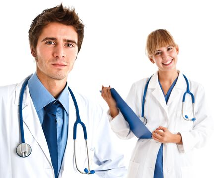 Portrait of a friendly doctor and his assistant Stock Photo - 14375464