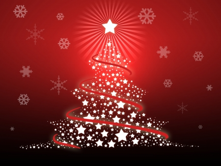 Illustration of a Christmas tree on a red background illustration