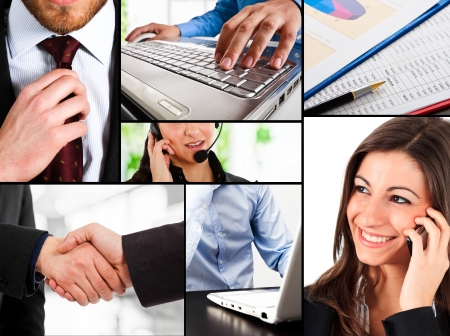Business themed collage illustrating work, communication, finance and technology photo