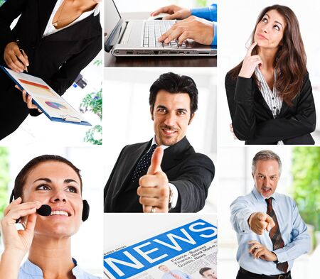 Business themed collage illustrating work, communication, finance and technology Stock Photo - 14598691