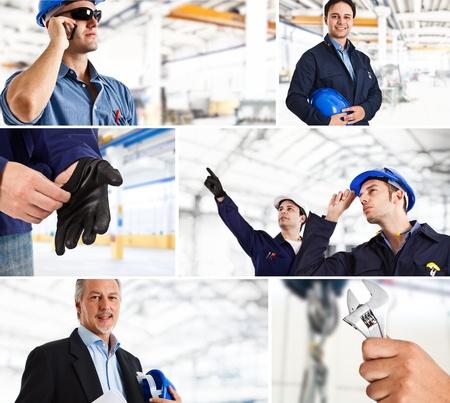 trabajadores: Collage de los trabajadores industriales en la acci�n Foto de archivo