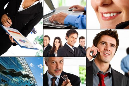 Collage of business and finance related images photo