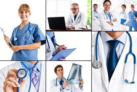 doctores: Composici�n de la asistencia sanitaria y las im�genes m�dicas Foto de archivo