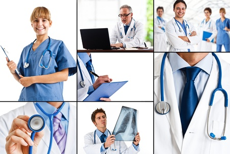 medical worker: Composition of healthcare and medical images