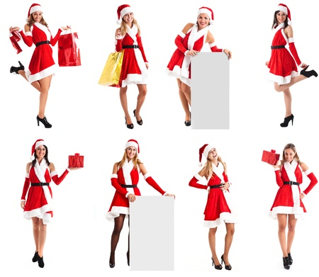 Collection of full length portraits of beautiful girls in Christmas dress photo