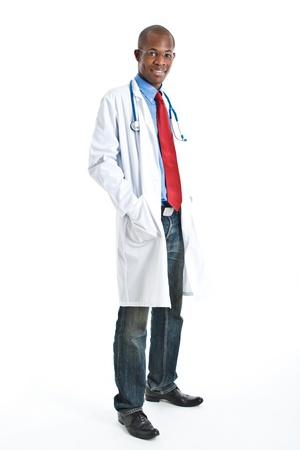 doctor: Retrato de cuerpo entero de un m�dico negro Foto de archivo