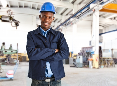 steel factory: Portrait of an handsome black engineer