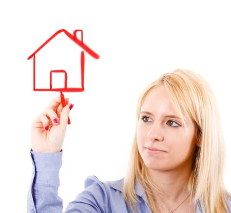 Young woman in a real estate concept photo