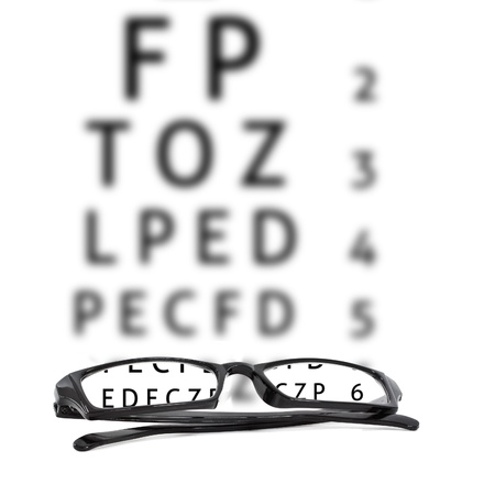 Eyeglasses in front of an optical chart Stock Photo - 14678989