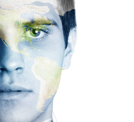 clean air: Young man with the world painted on the face
