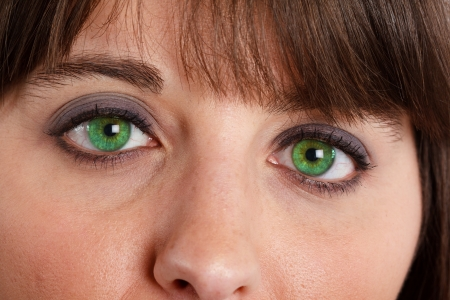 Close-up of beautiful green eyes. photo