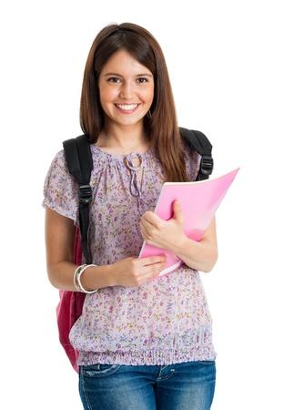 adolescentes estudiando: Retrato de una hermosa estudiante sonriendo Foto de archivo