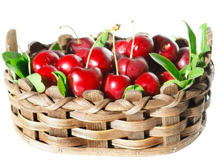 pulpy: Sweet pulpy  in a wicker basket  Isolated on white