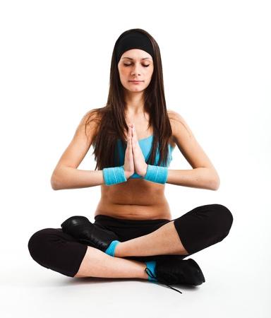 Beautiful young woman praticing meditation Stock Photo - 14748645