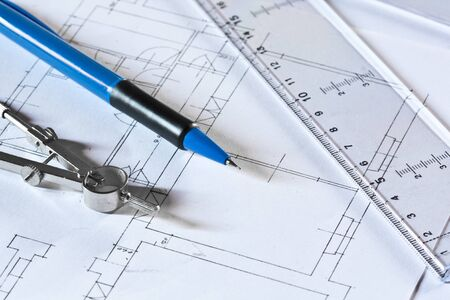 Drafting tools on a construction plan photo
