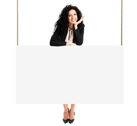 optimism: Beautiful woman showing a blank sign Stock Photo