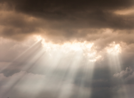 jesus clouds: Beautiful sky with sunbeams and clouds