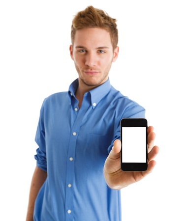 man with phone: Handsome man showing a mobile phone