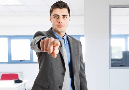 find a job: Handsome man pointing his finger to you Stock Photo