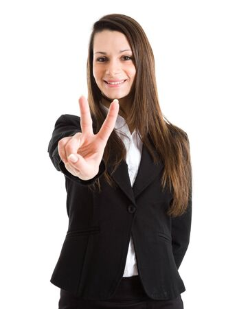 Portret van een succesvolle zakenvrouw. Geïsoleerd op wit