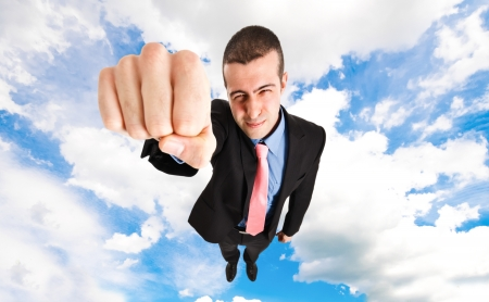 Businessman superhero flying faster than the speed of light Stock Photo - 14748370