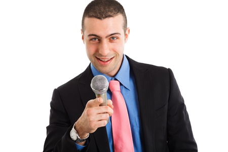involve: Portrait of a man holding a microphone  Isolated on white
