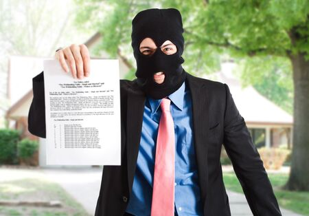 Thief businessman showing a document photo