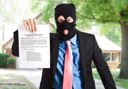 seizure: Thief businessman showing a document Stock Photo