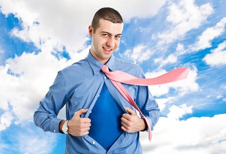 Man with superhero suit under his skirt Stock Photo - 14748704