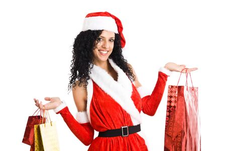 Portrait of a gorgeous Christmas dressed woman Stock Photo - 14870247