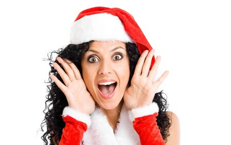 Portrait of beautiful woman wearing Christmas clothes Stock Photo - 14870217