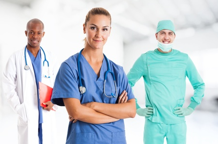 Nurse in front of her medical team photo