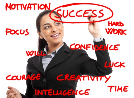 Woman writing success related concepts on the screen