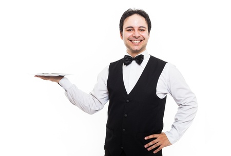 Professional waiter holding an empty dish. Isolated on white photo