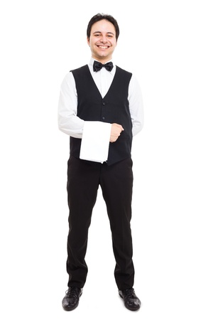 busboy: Full length portrait of a professional smiling waiter