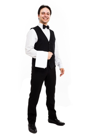 busboy: Full length portrait of a professionale waiter
