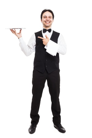 Full length portrait of a professional waiter