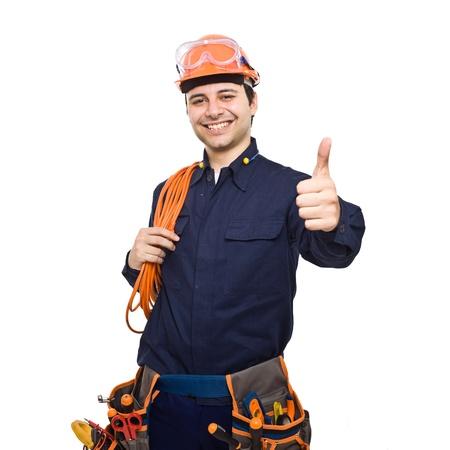 ingenieur electricien: Portrait d'un travailleur souriant. Isol� sur fond blanc