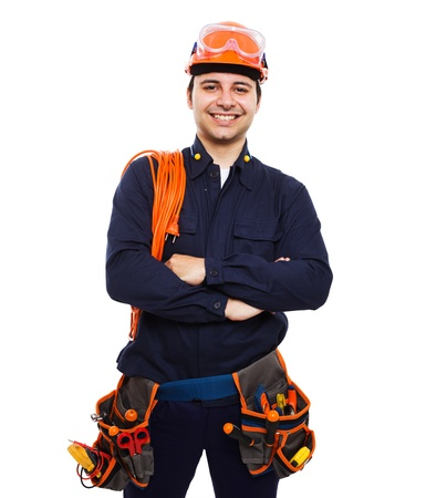 electrical contractor: Portrait of an handsome worker. Isolated on white Stock Photo