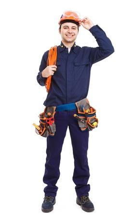 full: Retrato de cuerpo entero de un trabajador guapo
