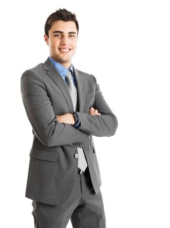 楽観: 笑みを浮かべてハンサムなビジネスマンの肖像画