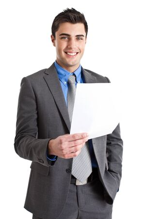 invoice: Portrait of an handsome businessman holding a document
