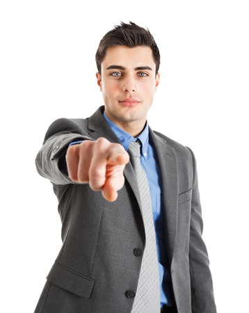 decide: Handsome man pointing his finger to you Stock Photo