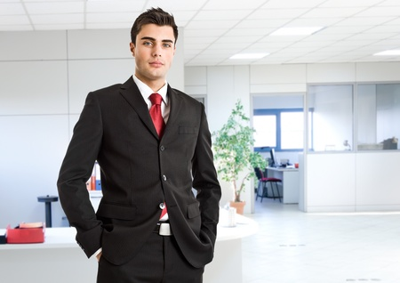 Portrait of an handsome businessman in his office photo