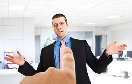 incriminate: Boss pointing the finger to an employee